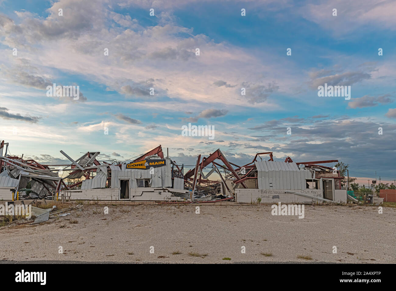 Panama City, Florida USA 10/16/2019. Businesses on industrial drive were destroyed by hurricane Michael. One year later this is what it looks like. Stock Photo
