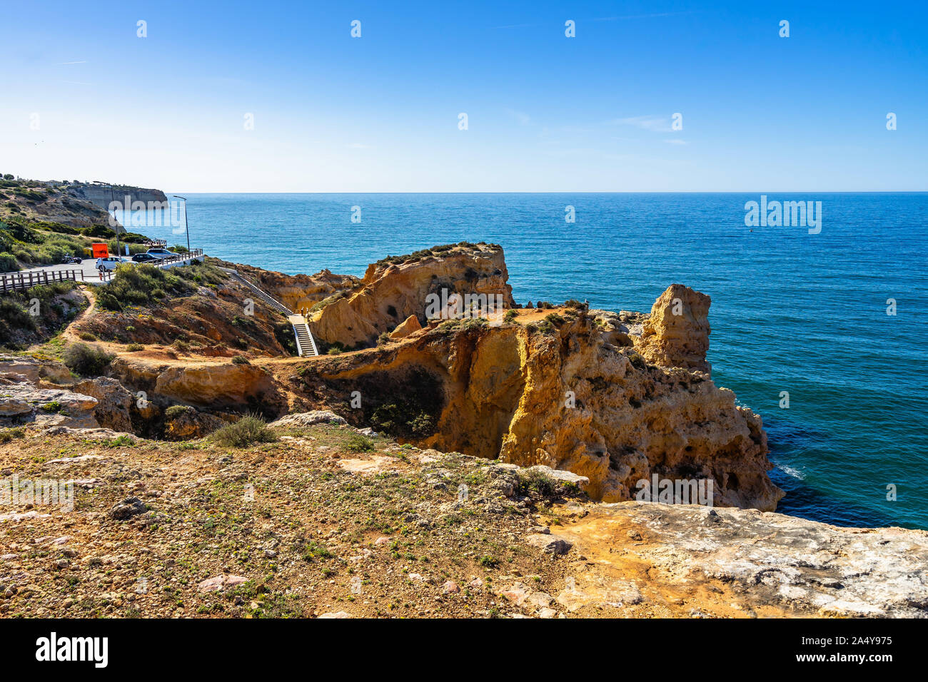 Algar Seco is fascinating cliff formations that have been carved out of the limestone bedrock, Carvoeiro, Algarve, Portugal Stock Photo