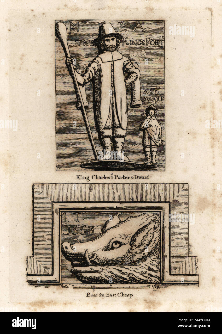 Stone sculpture of William Evans, giant porter, and Jeffry Hudson, dwarf to King Charles I. Located over Bagnio Court in Newgate Street, London. And sculpture of a boar in East Cheap. Stock Photo