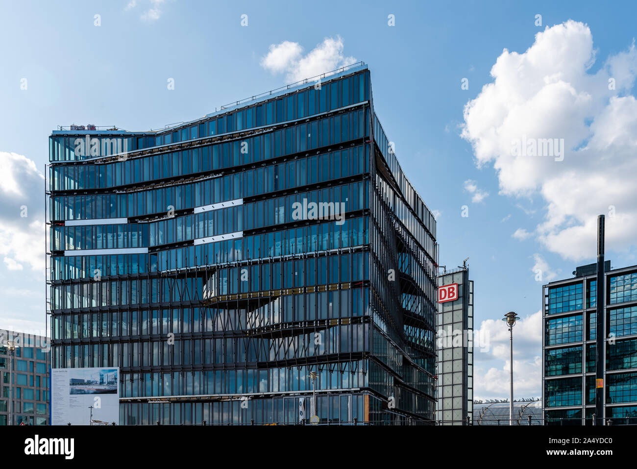 Berlin, Germany - July 27, 2019: Cube Berlin, a modern glass office building located on Washingtonplatz, besides central station and Spreebogen, on th Stock Photo