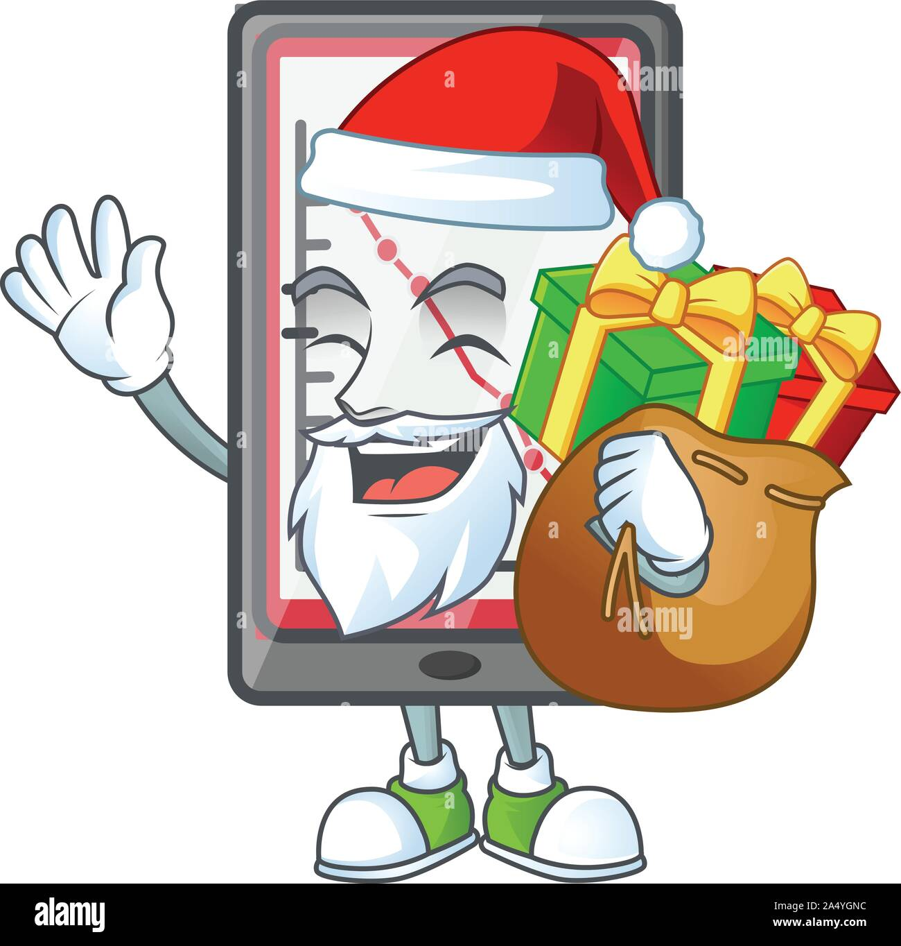 Santa with gift down chart vertical tablet with mascot Stock Vector