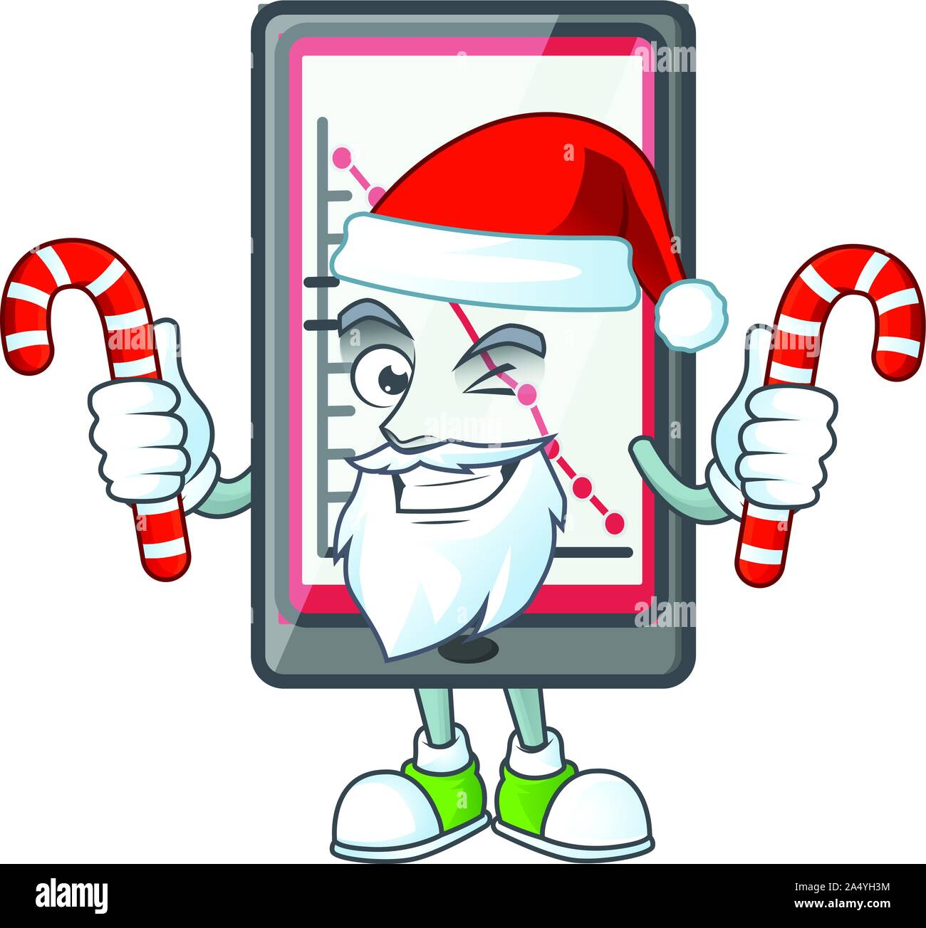 Santa with candy down chart vertical tablet with mascot Stock Vector