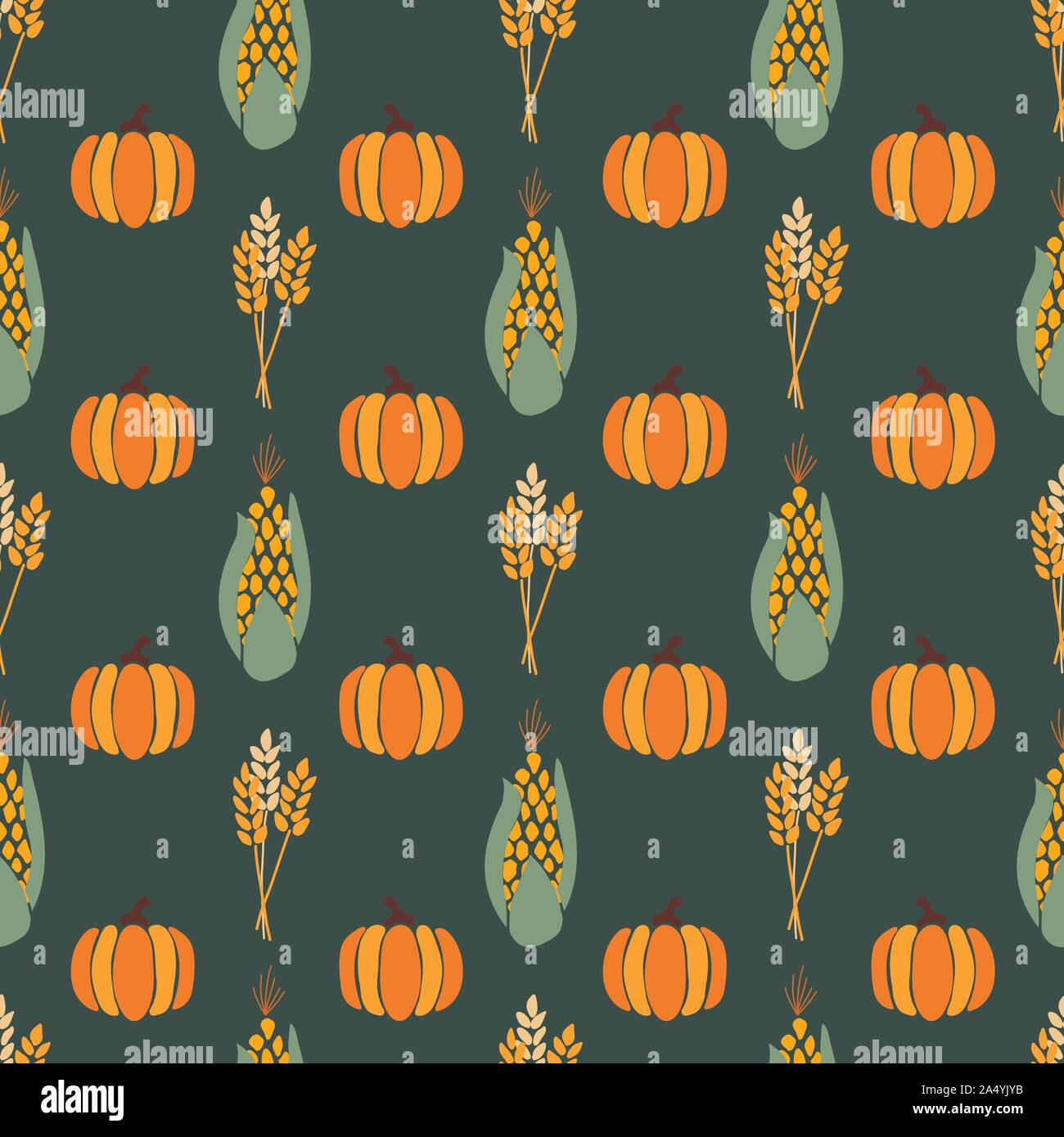Autumn Corn Plant Crop And Pumpkins On Dark Green Background Seamless Repeating Vector Pattern Fall Harvesting For Thanksgiving Wrapping Paper Stock Vector Image Art Alamy