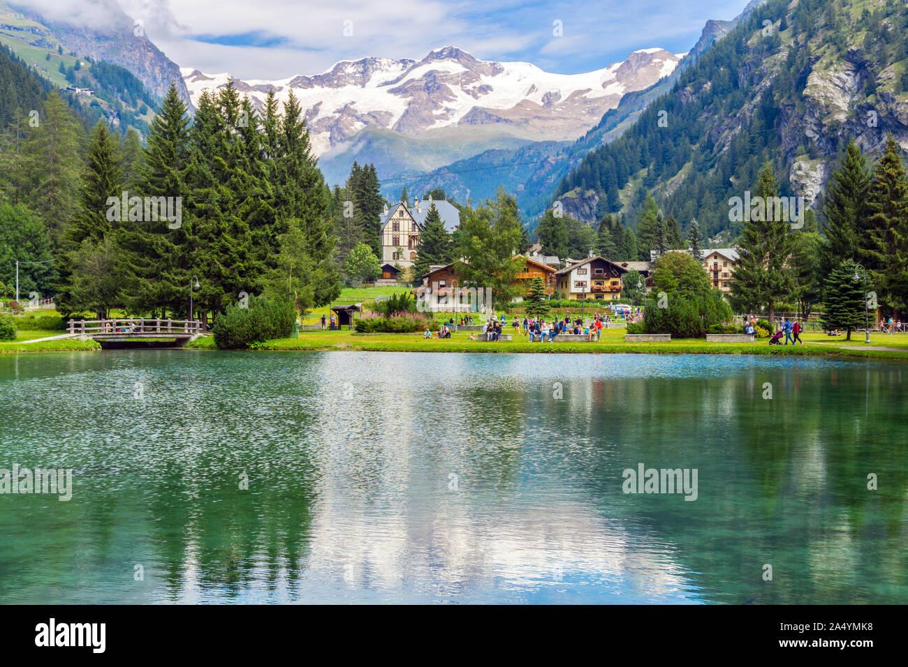 Italy, Aosta Valley, Gressoney-Saint-Jean, Lago di Gover, Monte Rosa in backgrounds Stock Photo