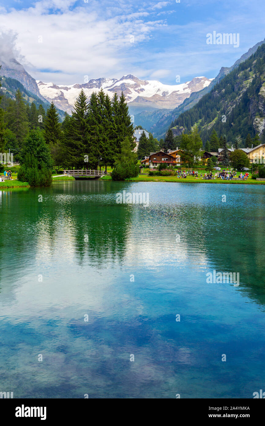 Italy, Aosta Valley, Gressoney-Saint-Jean, Lago di Gover, Monte Rosa in backgrounds Stock Photo