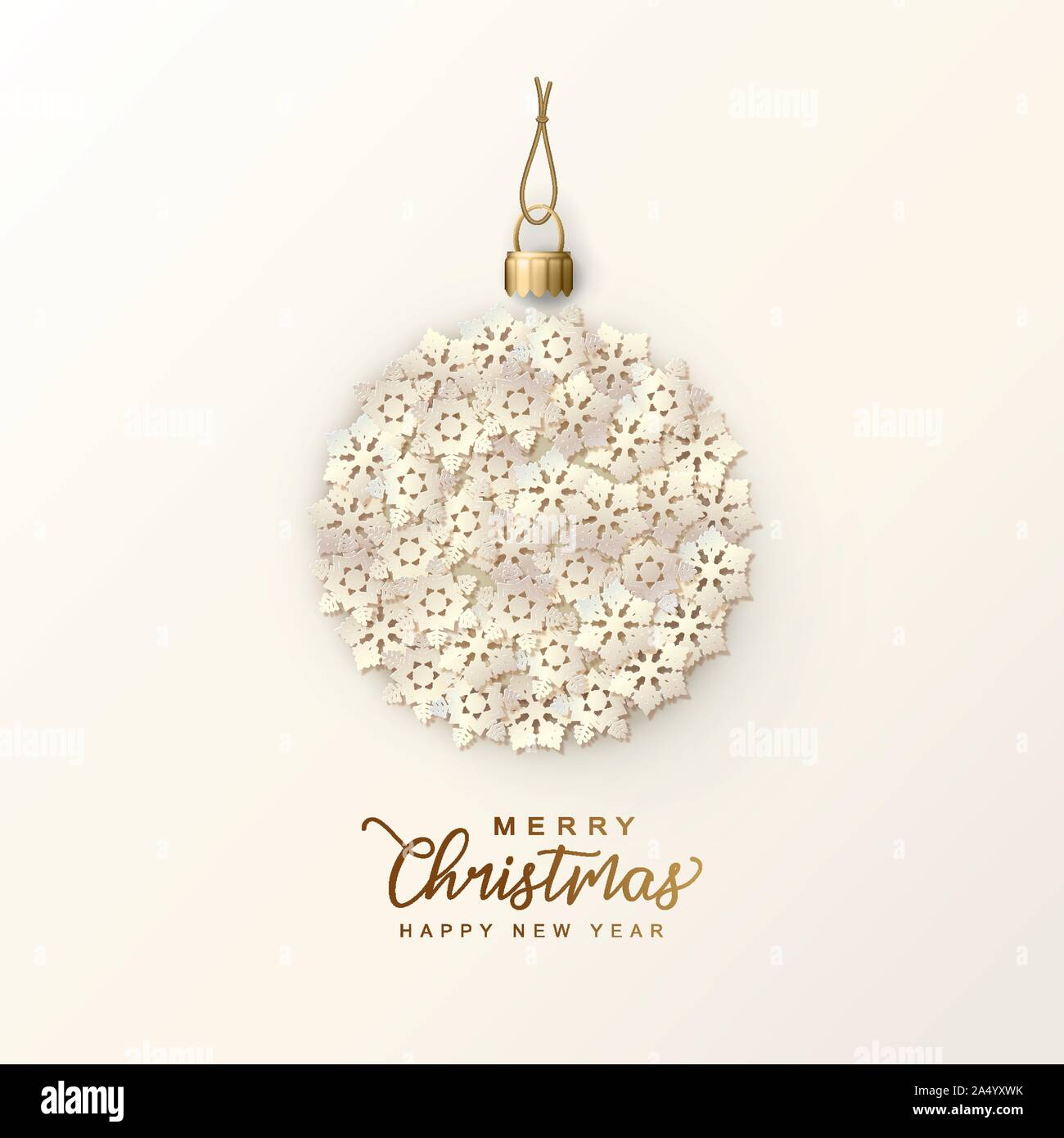 Holiday Christmas Card. Hanging Christmas tree ball formed of paper snowflakes. Festive vector background Stock Vector