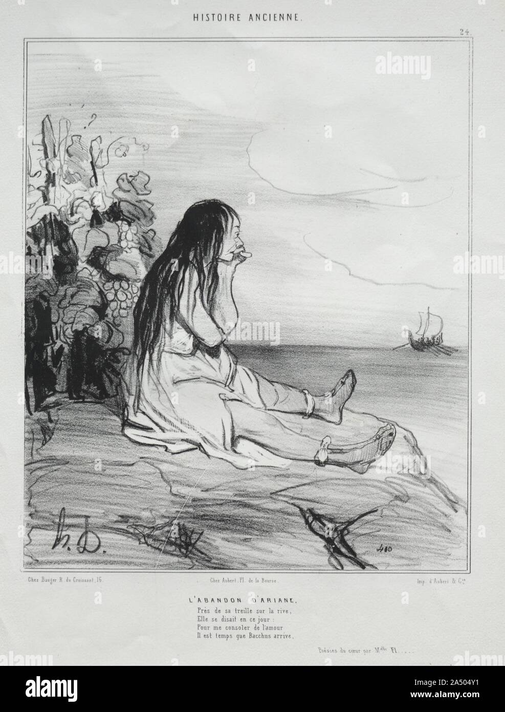 Ancient History, plate 24: The Abandonment of Ariadne, 4 September 1842. Stock Photo