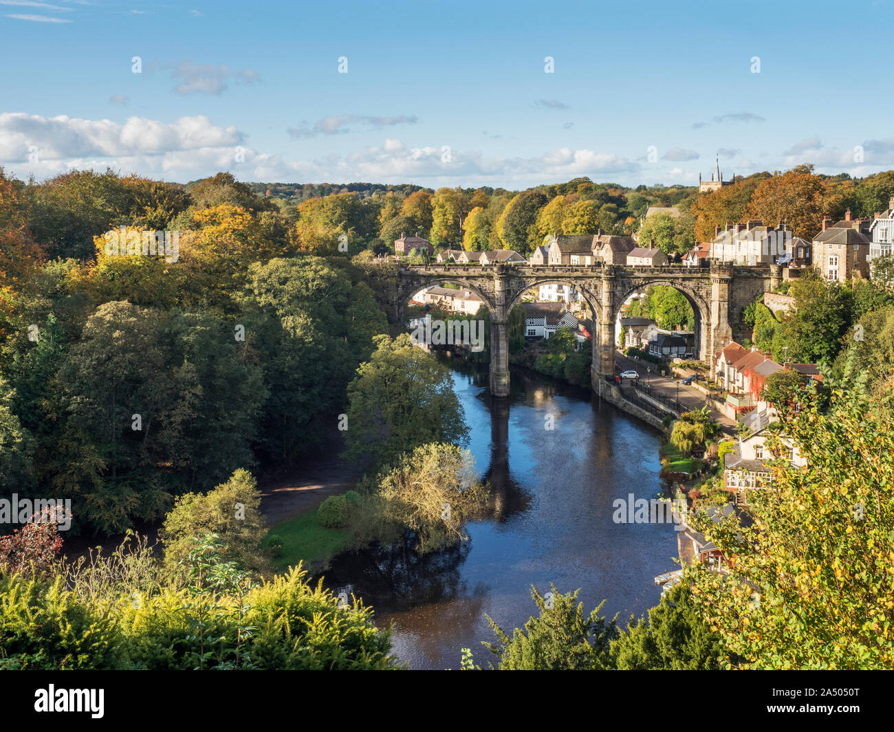 Viaduct over the River Nidd in autumn from the Castle Grounds at Knaresborough North Yorkshire England Stock Photo