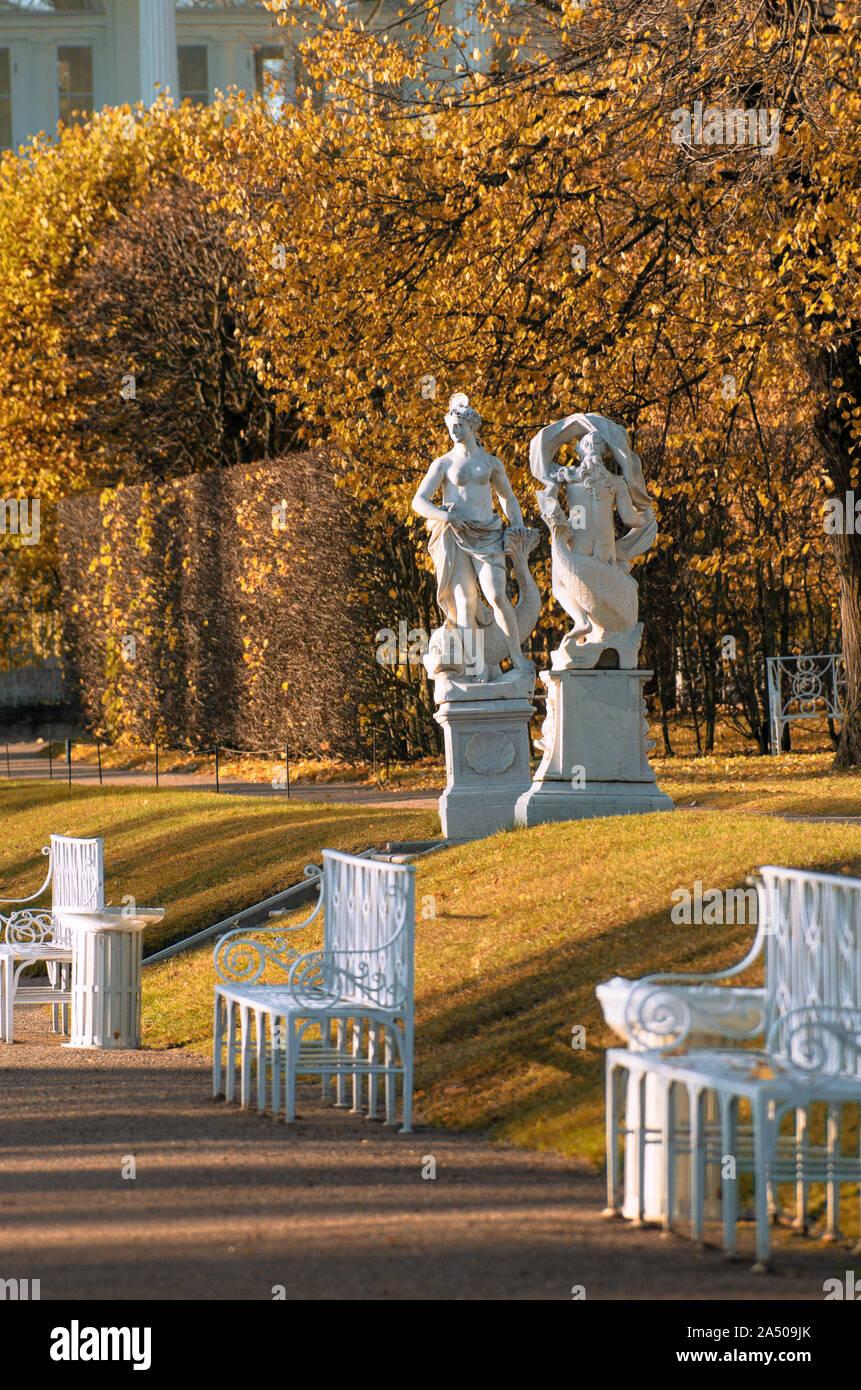 Tsarskoye Selo, Saint Petersburg, Russia - October 15, 2019: On a sunny morning Venetian sculptures in Catherine Park in the Indian summer season Stock Photo