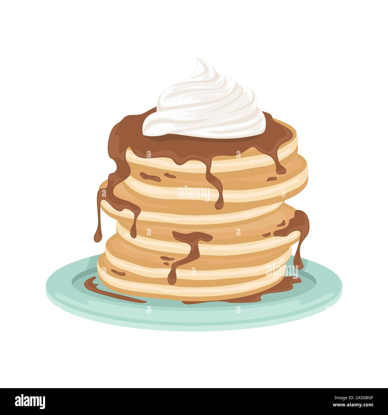A Stack Of Fried Pancakes With Whipped Cream And Chocolate Sauce Delicious Breakfast Cartoon Vector Illustration Stock Vector Image Art Alamy