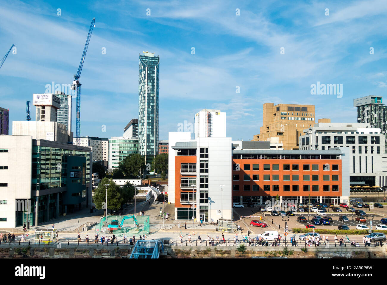 Liverpool. England, Merseyside, new modern buildings on the  waterfront. Stock Photo