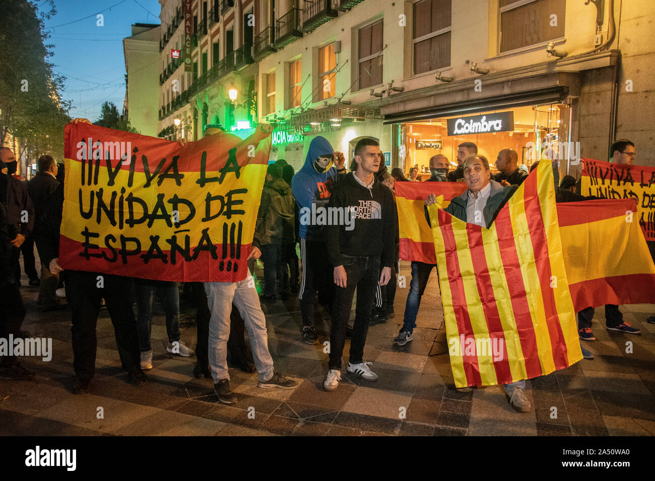 Hundreds of people gathered in Puerta del Sol in Madrid on Wednesday (October 16) in support of Catalan independence.  The gathering was later disrupt Stock Photo