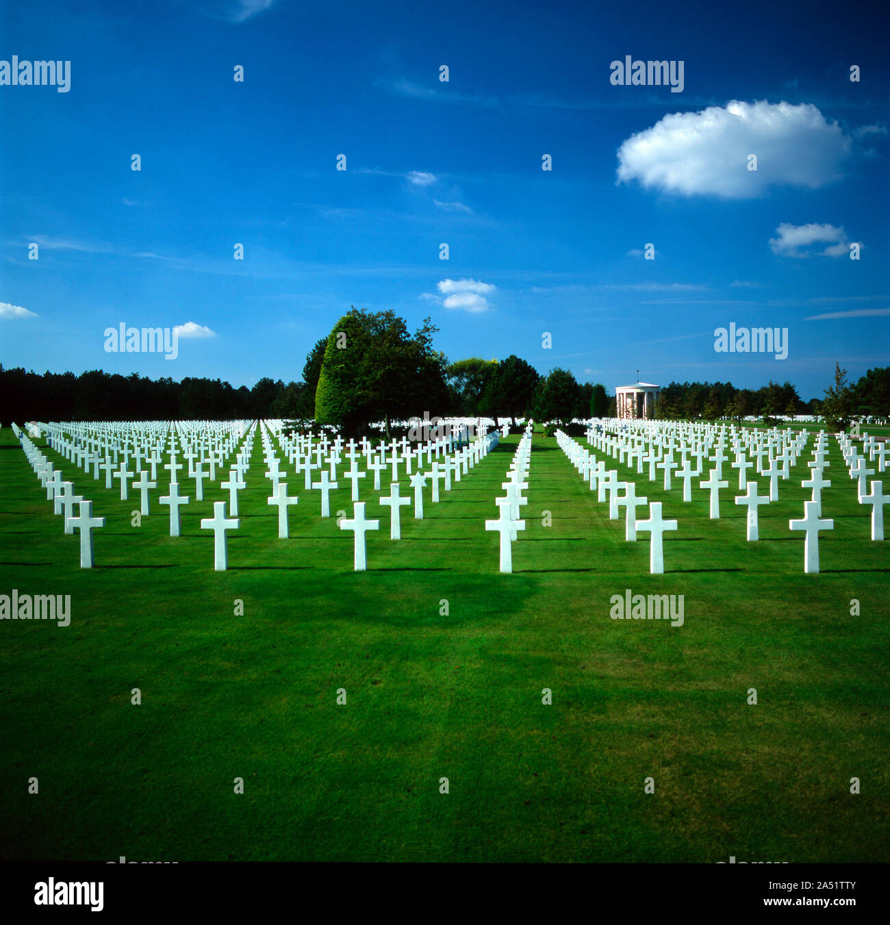 The Normandy American Cemetery in Colleville-sur-Mer, Calvados, Normandie, France Stock Photo
