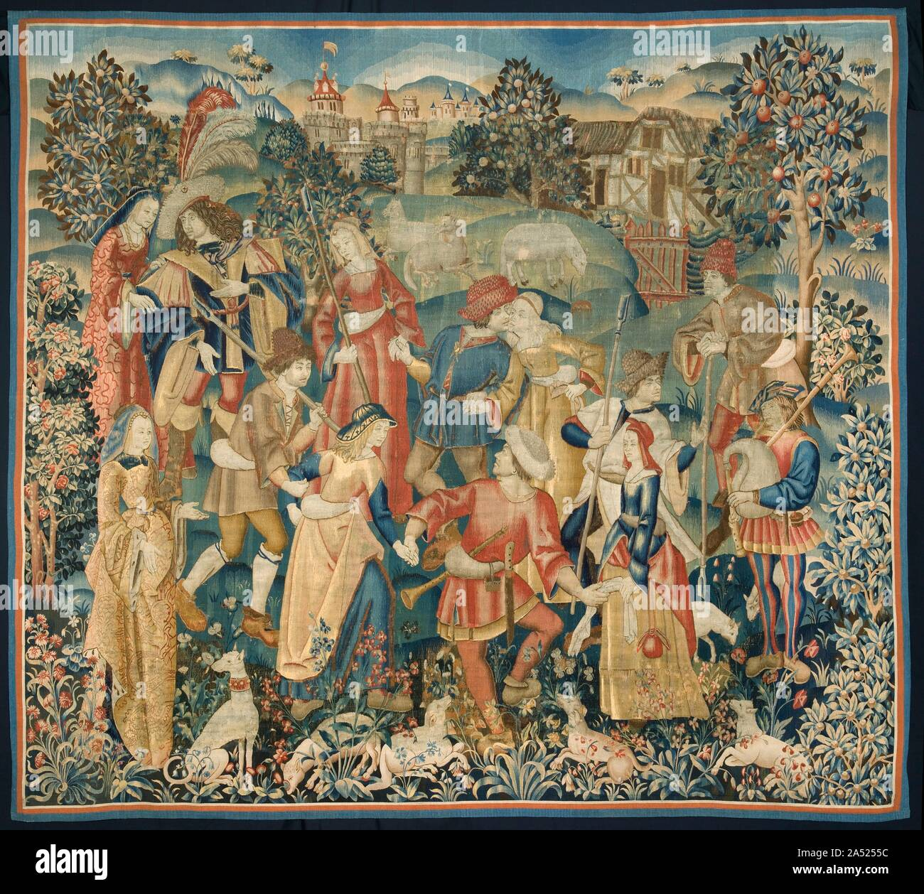 Shepherds In A Round Dance Around 1500 Late Medieval Tapestries Often Use A Limited Yet Contrasting Colour Palette To Portray Stylized Images The Expressions Of These Figures For Example Are Conveyed More By
