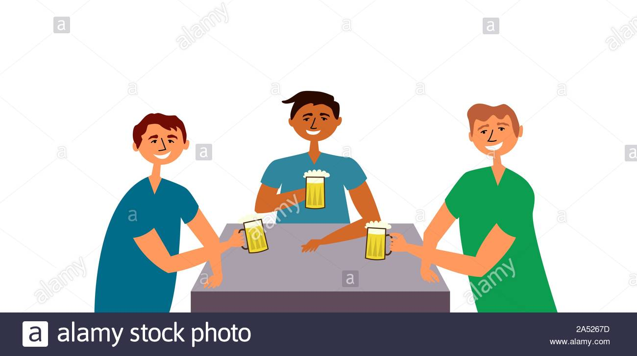 Friends guys drink beer. People gathered at the common table drinking and having fun. Friendly feasts. Toast. Alcoholic beverage. Bar. Vector Stock Vector