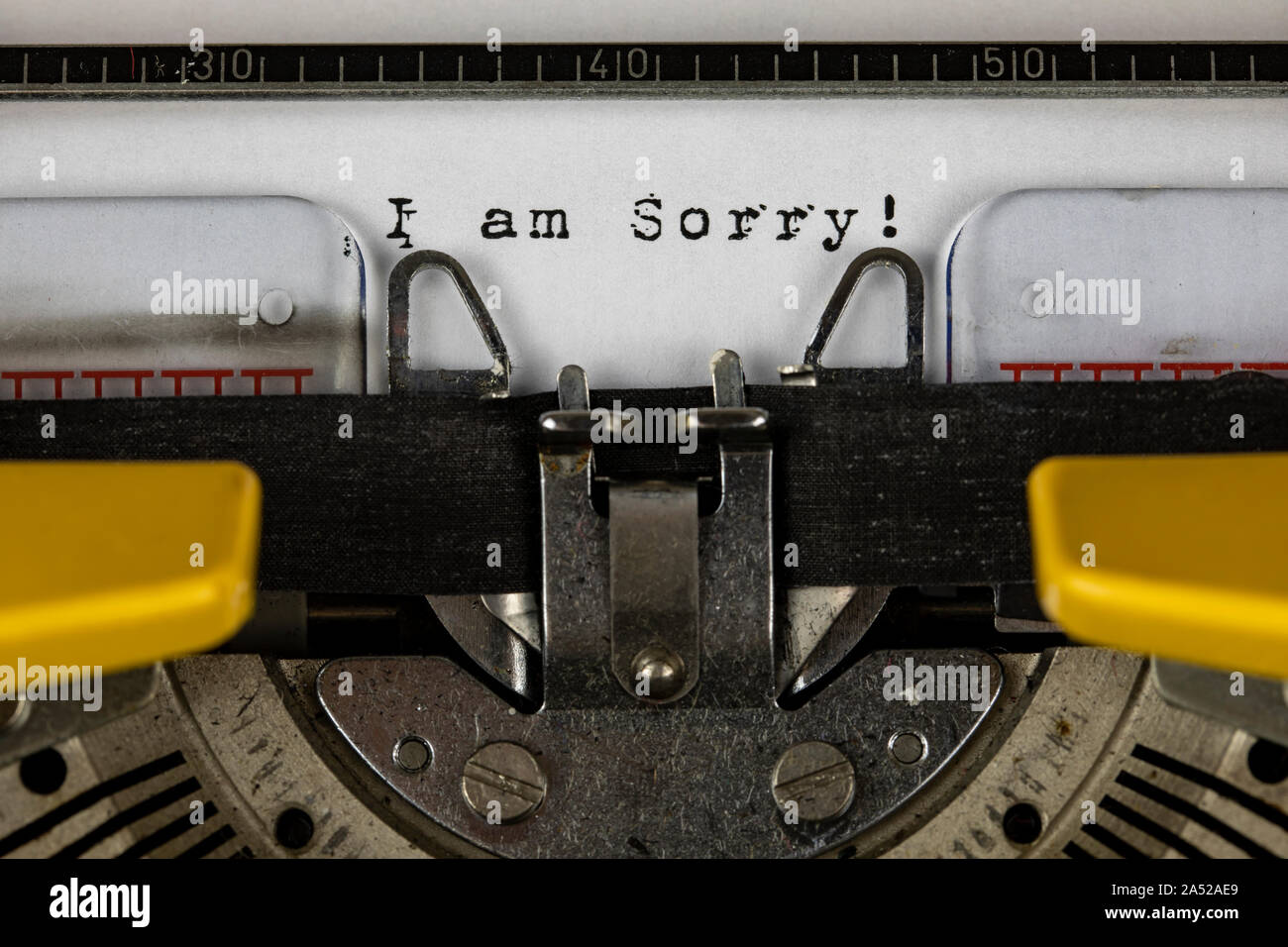 old typewriter with text i am sorry Stock Photo