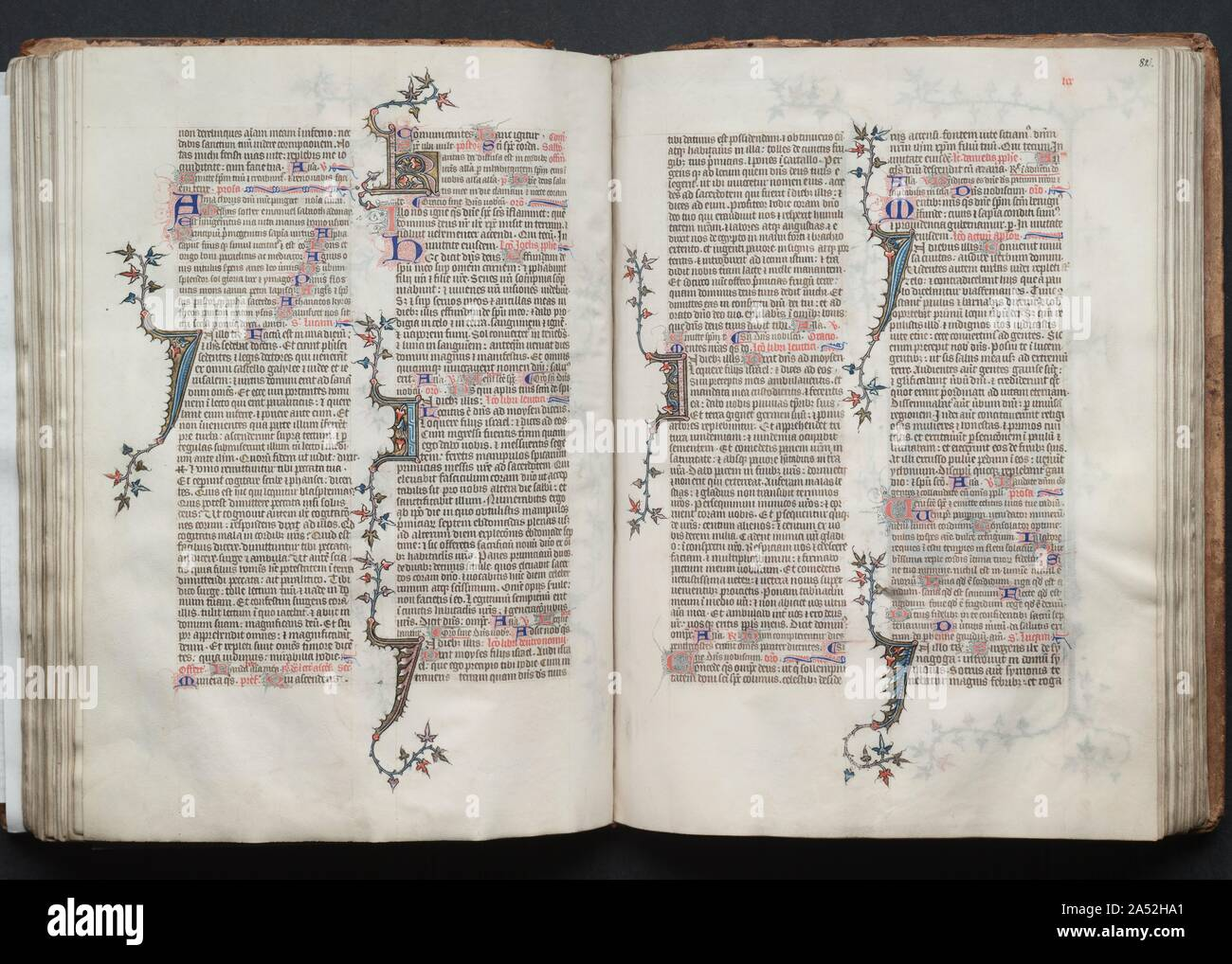 The Gotha Missal: Fol. 82r, Text, c. 1375. The style and quality of this manuscript's decoration is typical of deluxe Parisian books made for aristocratic or royal patrons. Most of the book's decoration appears to be the work of the Master of the Boqueteaux, an artist active at the court of King Charles V (died 1380). His style was apparently shared by a number of book illuminators working in and around Paris. It is very possible that the  Gotha Missal  belonged to Charles V, but is not provable because the manuscript has no royal portraits and lacks a colophon. Given the book's magnificent de Stock Photo
