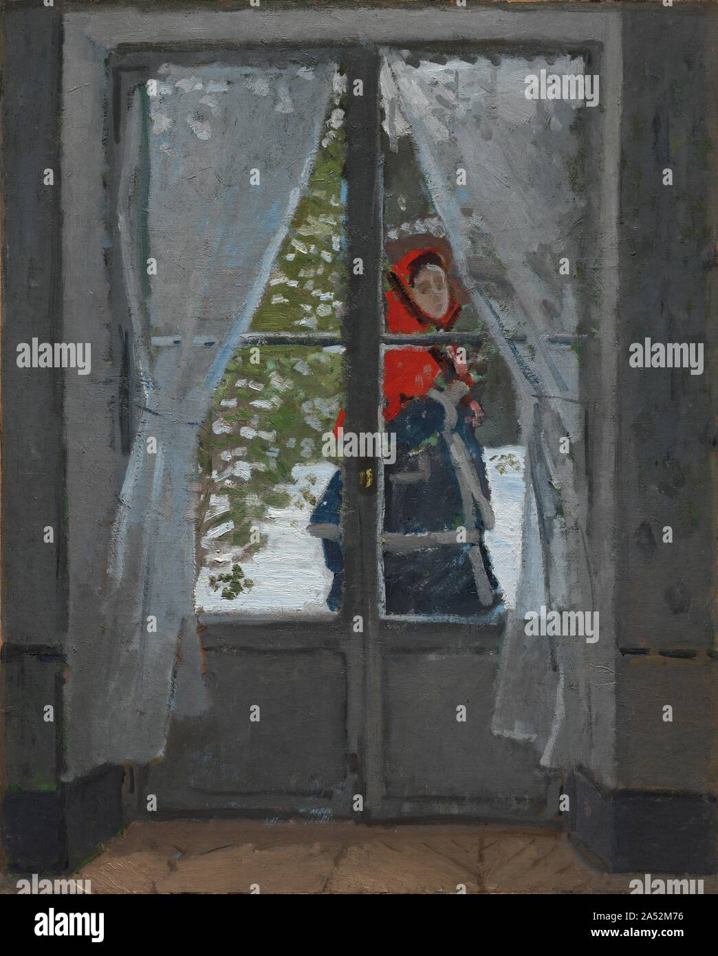 The Red Kerchief, c. 1868-73. In its early stages, this composition contained two figures seated inside the room on either side of the window. Monet radically altered the composition by painting over the figures. They were replaced by an image of the artist's favorite model---his wife Camille, who passes outside the window in a red cape. Intense light---reflected from the snow-covered landscape---floods the room, obliterating details along the walls and floor. The off-center window frame and the blurriness achieved through sketchy brushstrokes suggest the scanning movement of the artist's eye Stock Photo
