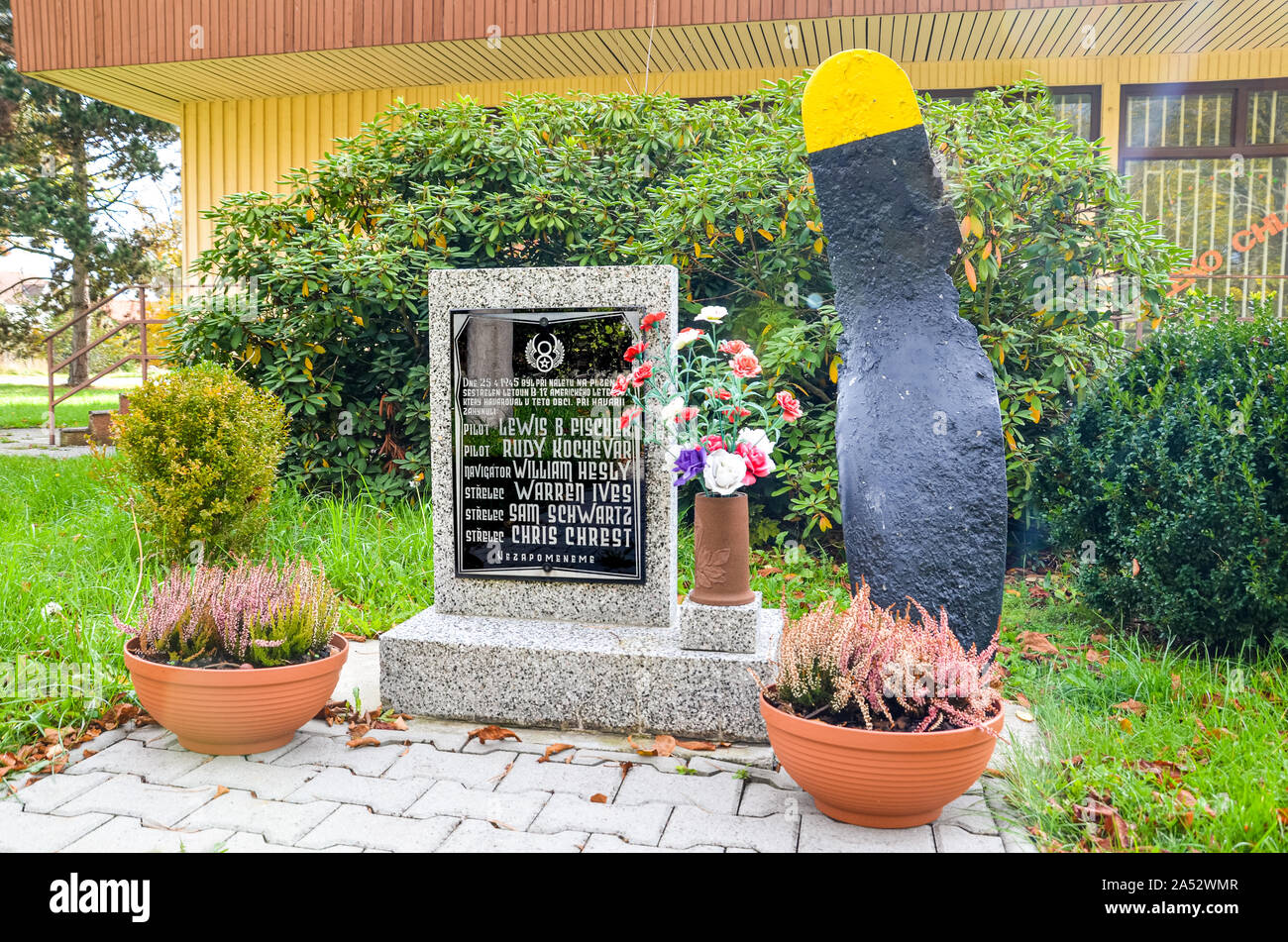 Ceminy, Czech Republic - Oct 17, 2019: Memorial dedicated to crew of bomber aircraft B-17G that was shot down during the Second World War. US Air Force. Memorial text in Czech and names of victims. Stock Photo