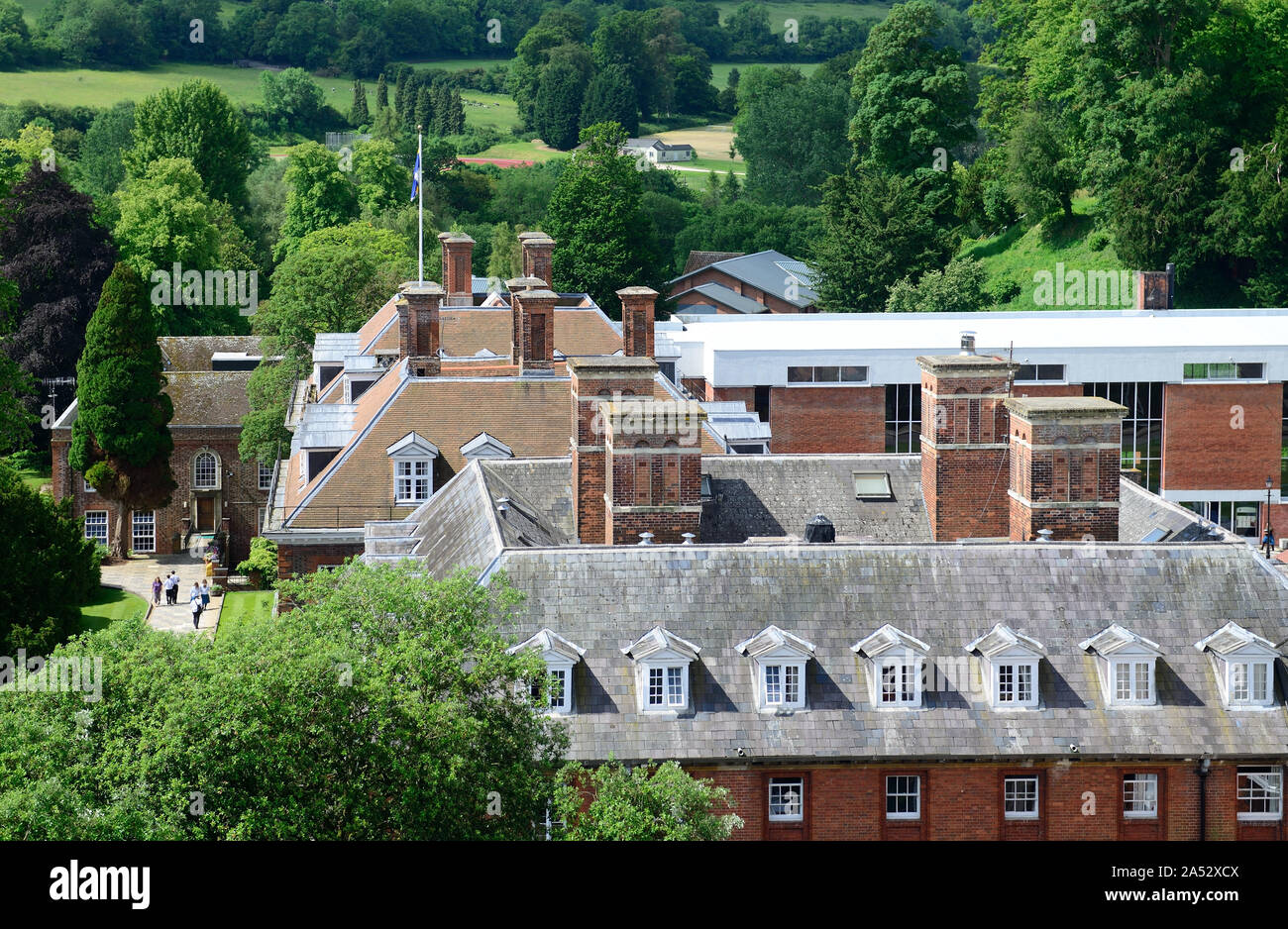 Part of Marlborough College, seen from the tower of St Peter's church. Stock Photo