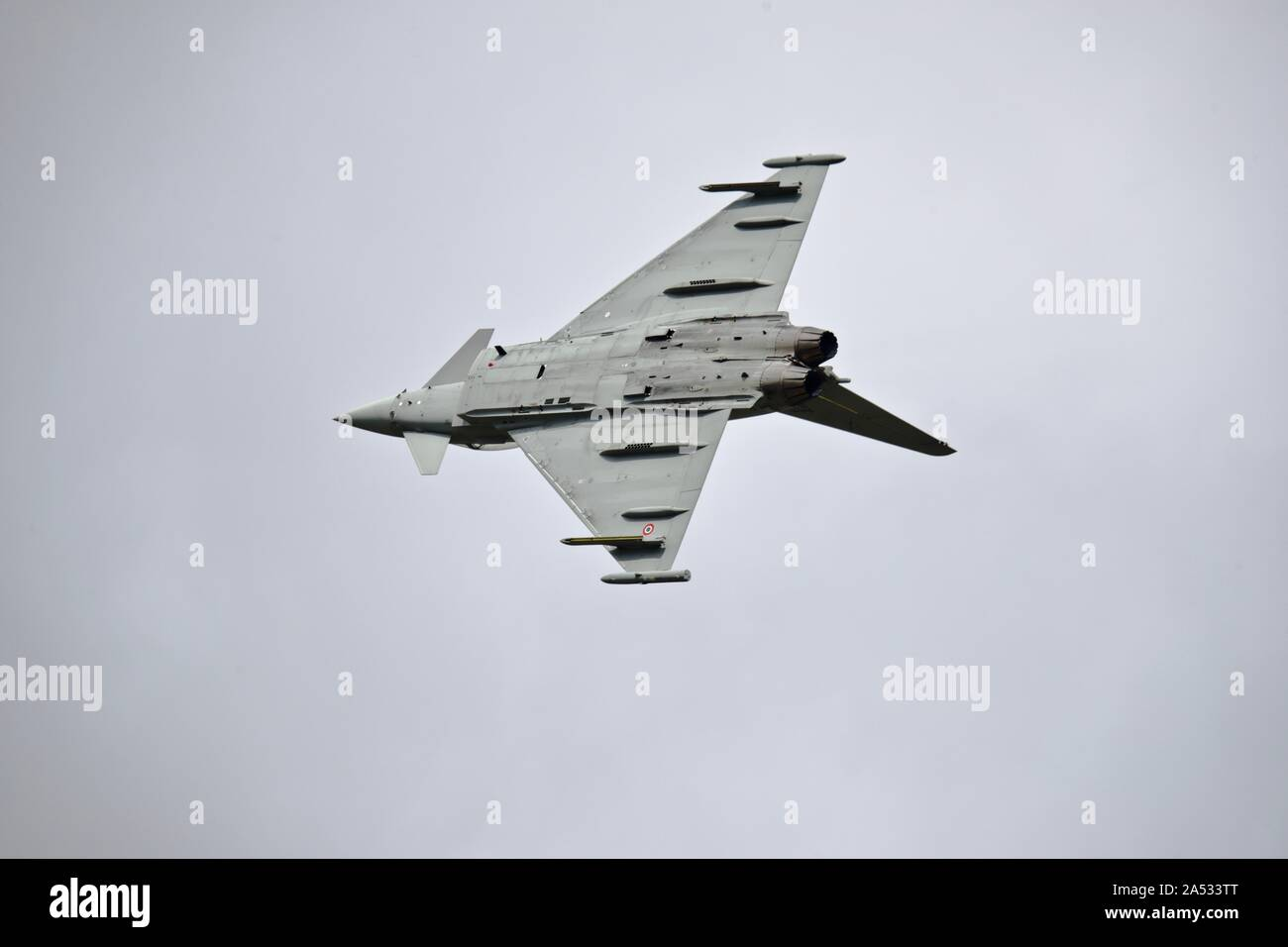 Italian Air Force F-2000A Typhoon fighter jet performing at the 2019 Royal International Air Tattoo Stock Photo