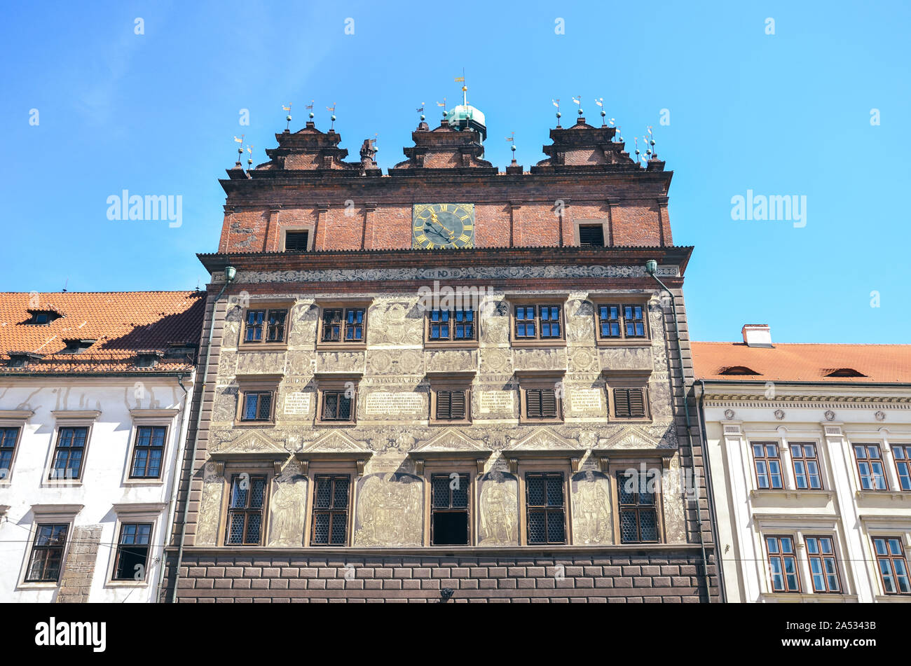 The Rennaisance City Hall on the main square in Pilsen, Bohemia, Czech Republic. The seat of the city council. Front side view. The fourth-largest city in Czechia. Historical building. Stock Photo