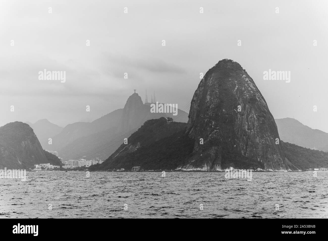 Beautiful view from the ocean to mountains and landscape in Rio de Janeiro, RJ Stock Photo