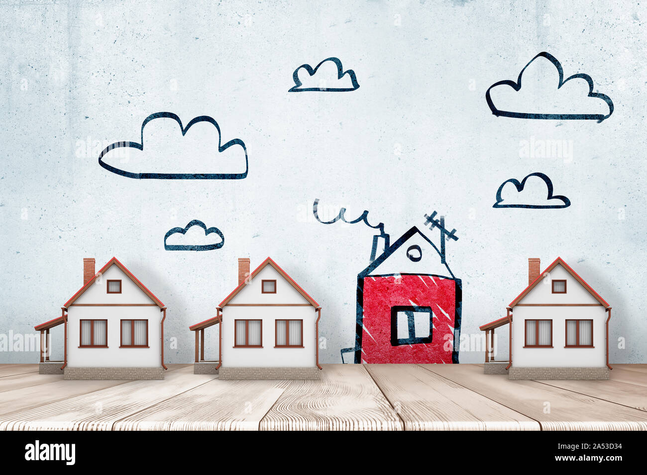 3d rendering of 3 white private houses on white wooden floor with one red house and clouds drawn on the wall Stock Photo