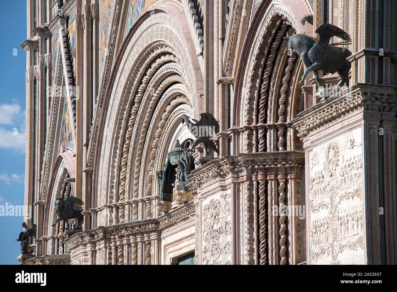 Italian Gothic Cattedrale di Santa Maria Assunta (Cathedral of Assumption of the Blessed Virgin Mary) in historic centre of Orvieto, Umbria, Italy. Au Stock Photo