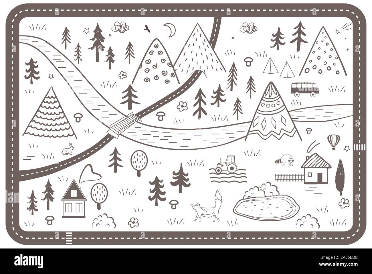 Cute Hand Drawn Scandinavian Vector Seamless pattern with ...