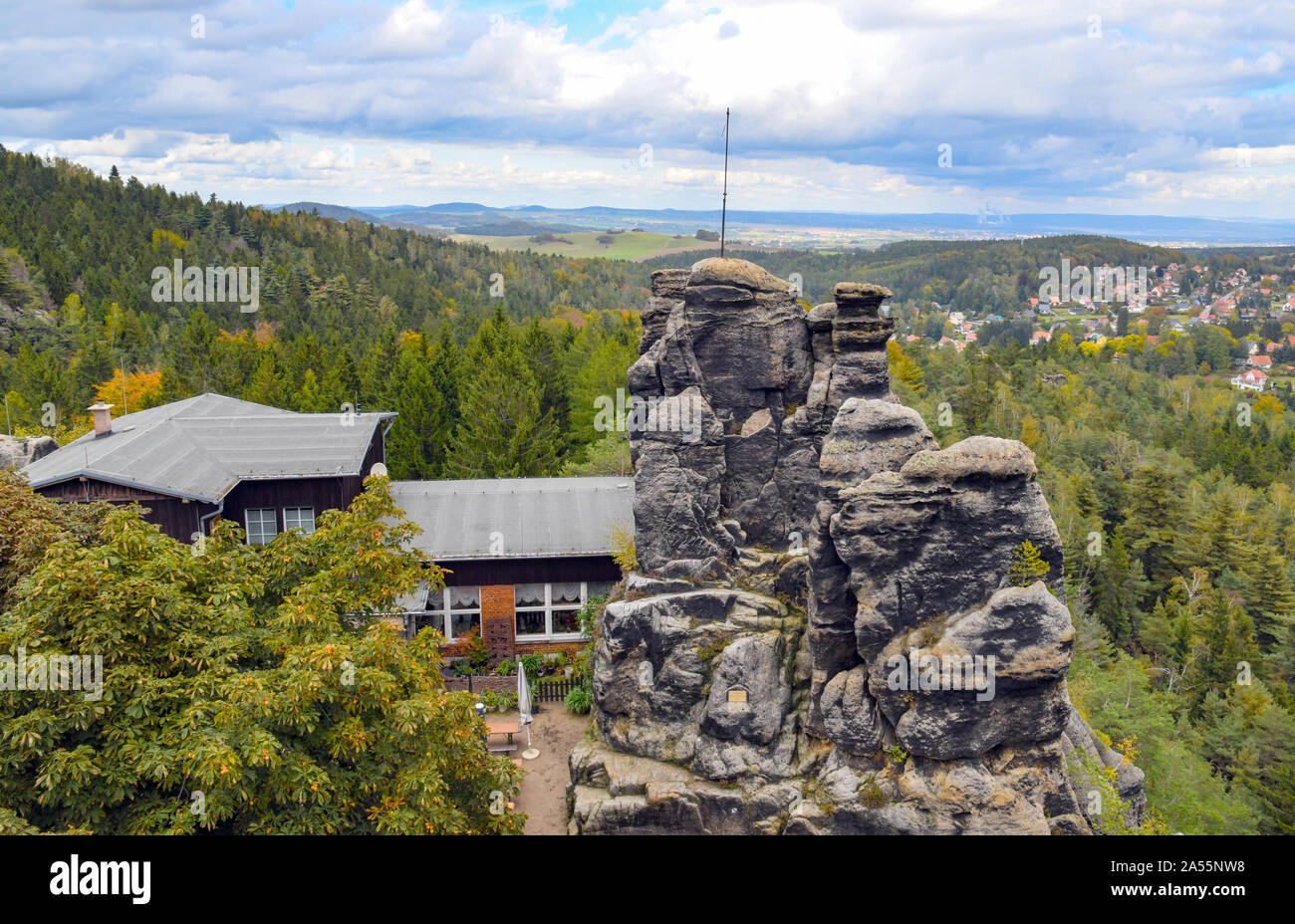 Jonsdorf, Germany. 09th Oct, 2019. The Nonnenfelsen mountain inn in the health resort of Jonsdorf in the Zittau Mountains on the border with the Czech Republic and Poland. Credit: Patrick Pleul/dpa-Zentralbild/ZB/dpa/Alamy Live News Stock Photo