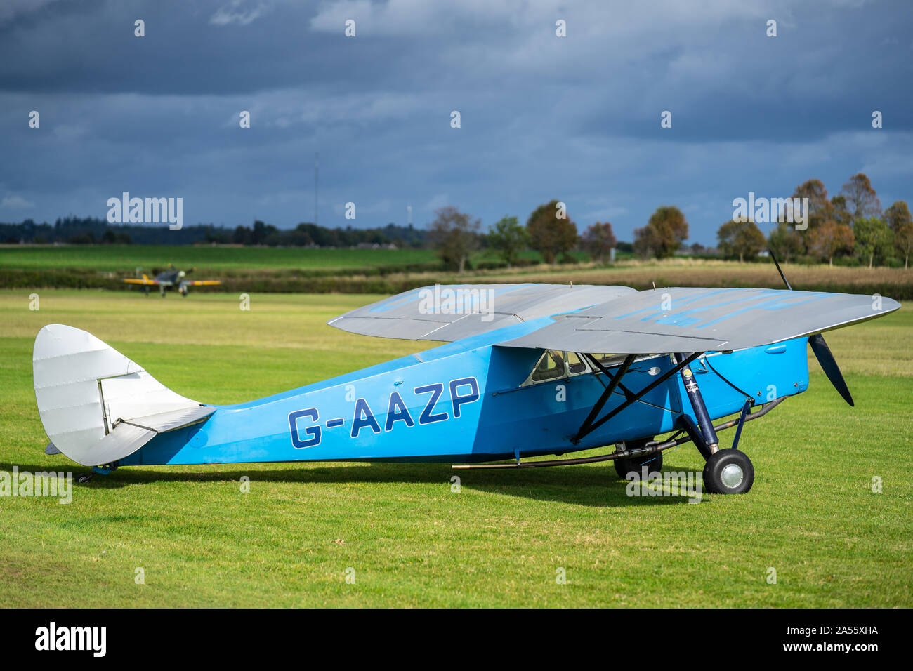 OLD WARDEN, BEDFORDSHIRE, UK ,OCTOBER 6, 2019. De Havilland DH.80A Puss Moth aircraft G-AAZP. Race Day at Shuttleworth. Stock Photo