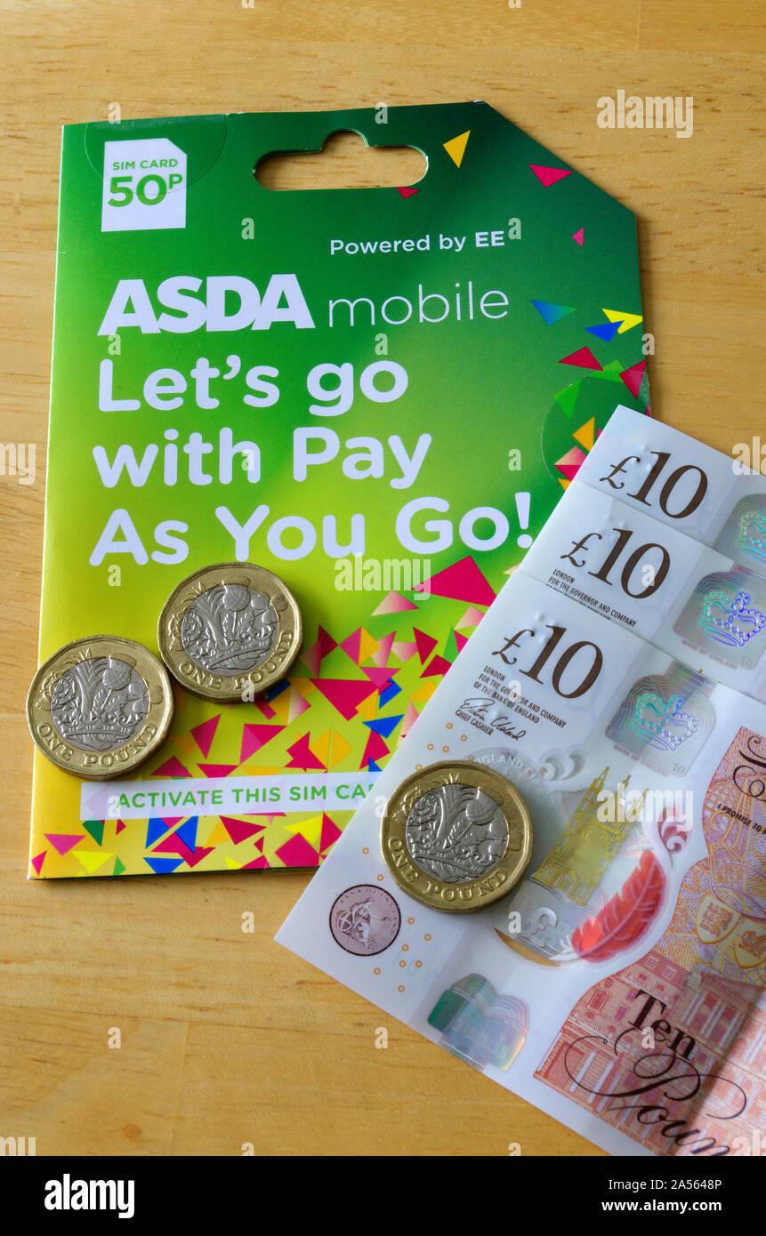 Pay As You Go Asda Mobile Phone Sim Card With Money Uk Stock Photo Alamy