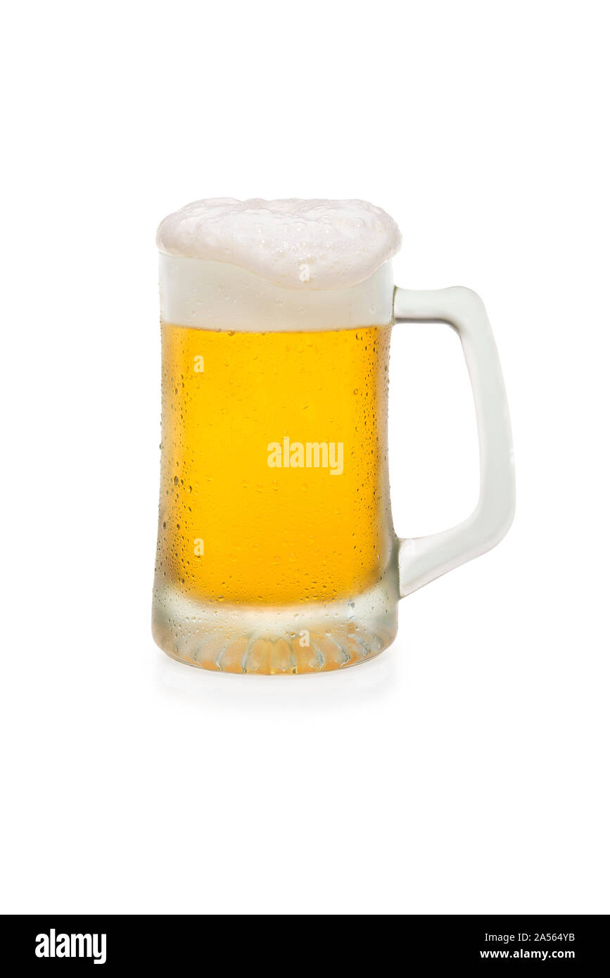 Mug of Beer With Foam Top Isolated on a White Background Stock Photo
