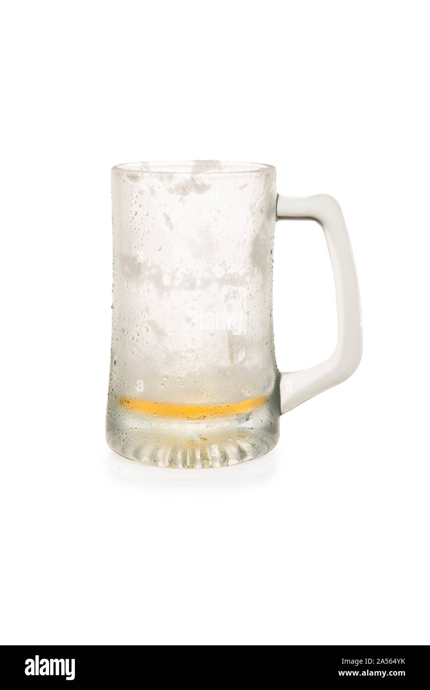 Beer Mug With A little Beer Left Isolated on a White Background Stock Photo