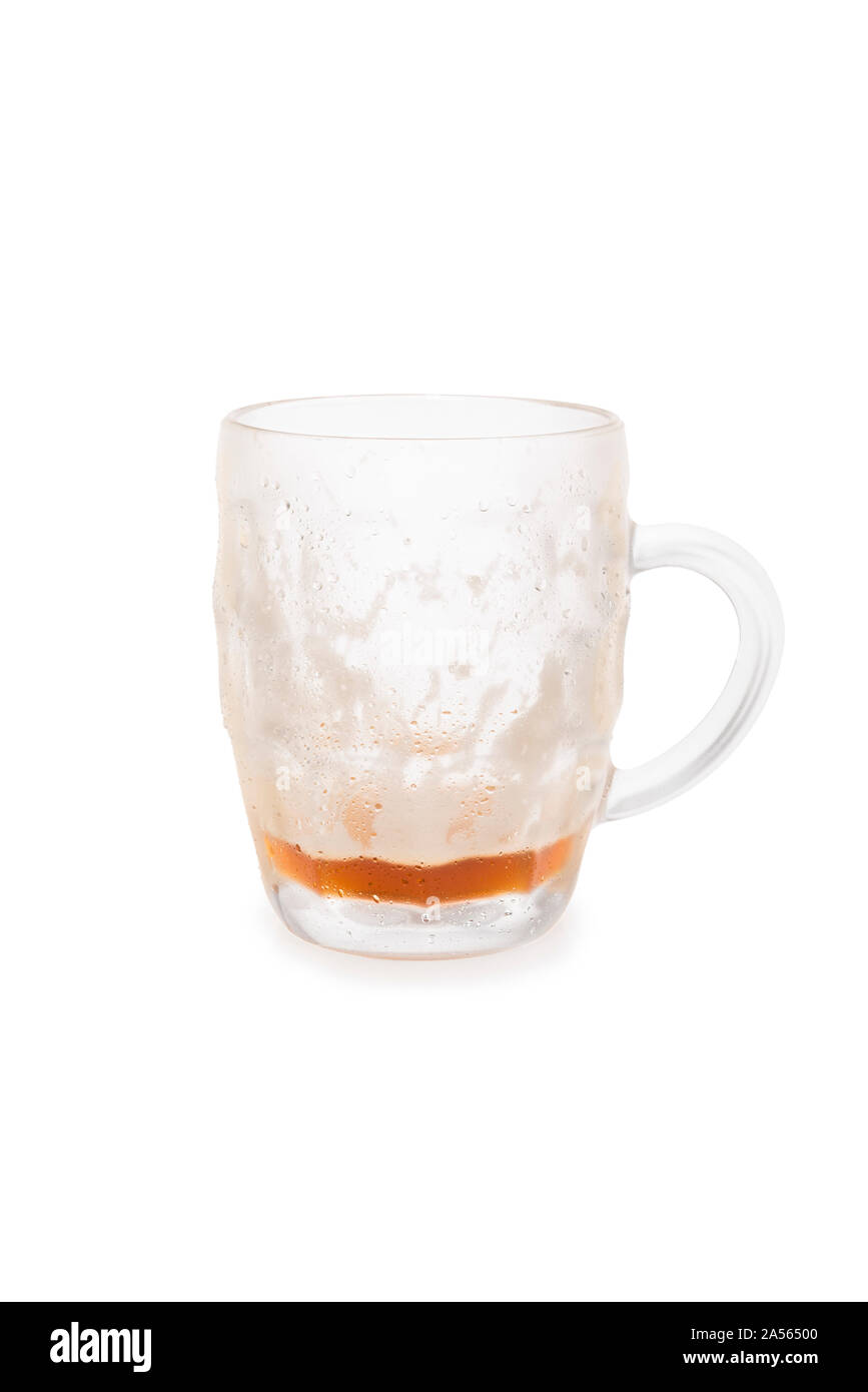 Almost Empty Bock Beer Mug Isolated on a White Background Stock Photo