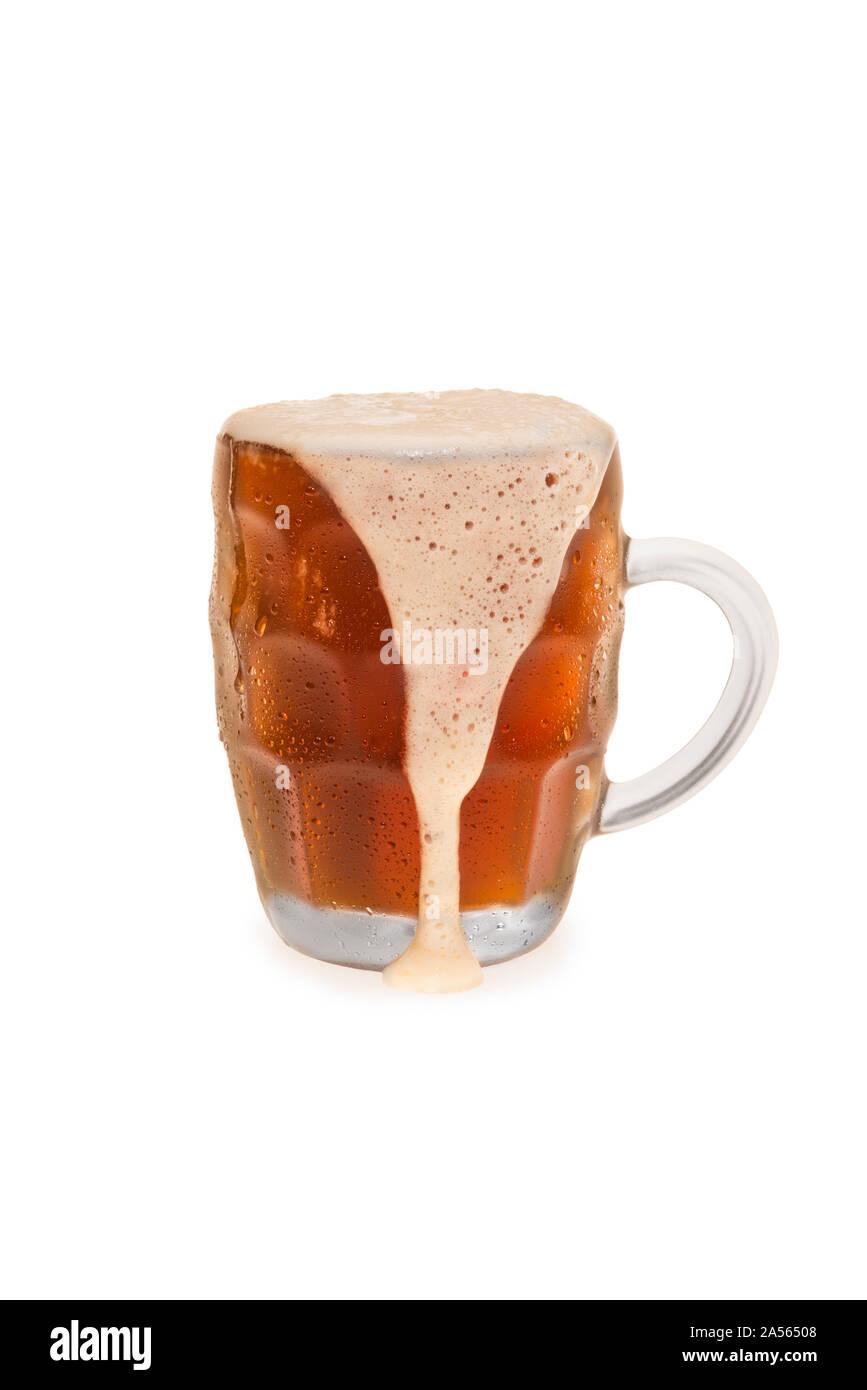 Overflowing Bock beer. Stock Photo