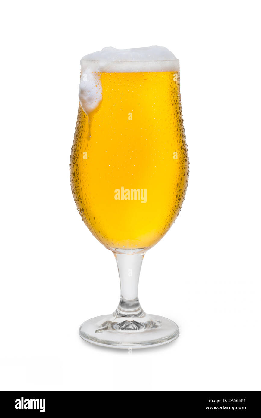 Full Belgium Ale with Condensation, Foam Head, and Drip #4. Stock Photo