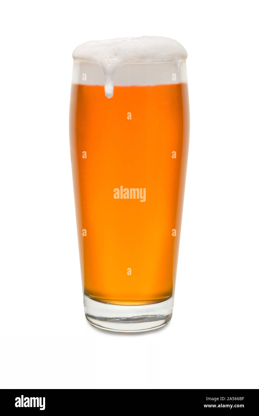 Craft Pub Glass with Beer and Foam Running Down Side of Glass #1. Stock Photo
