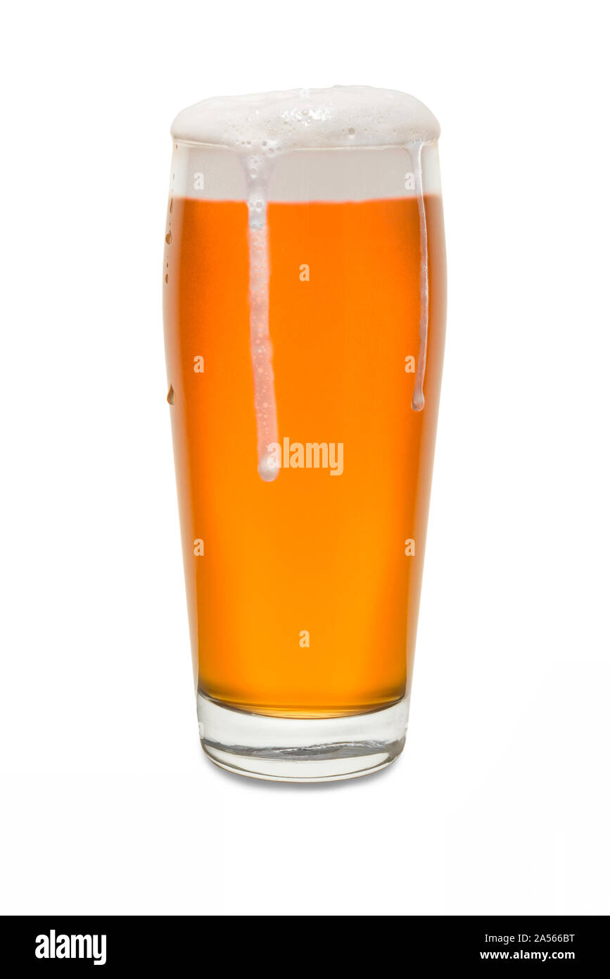 Craft Pub Glass with Beer and Foam Running Down Side of Glass #3. Stock Photo