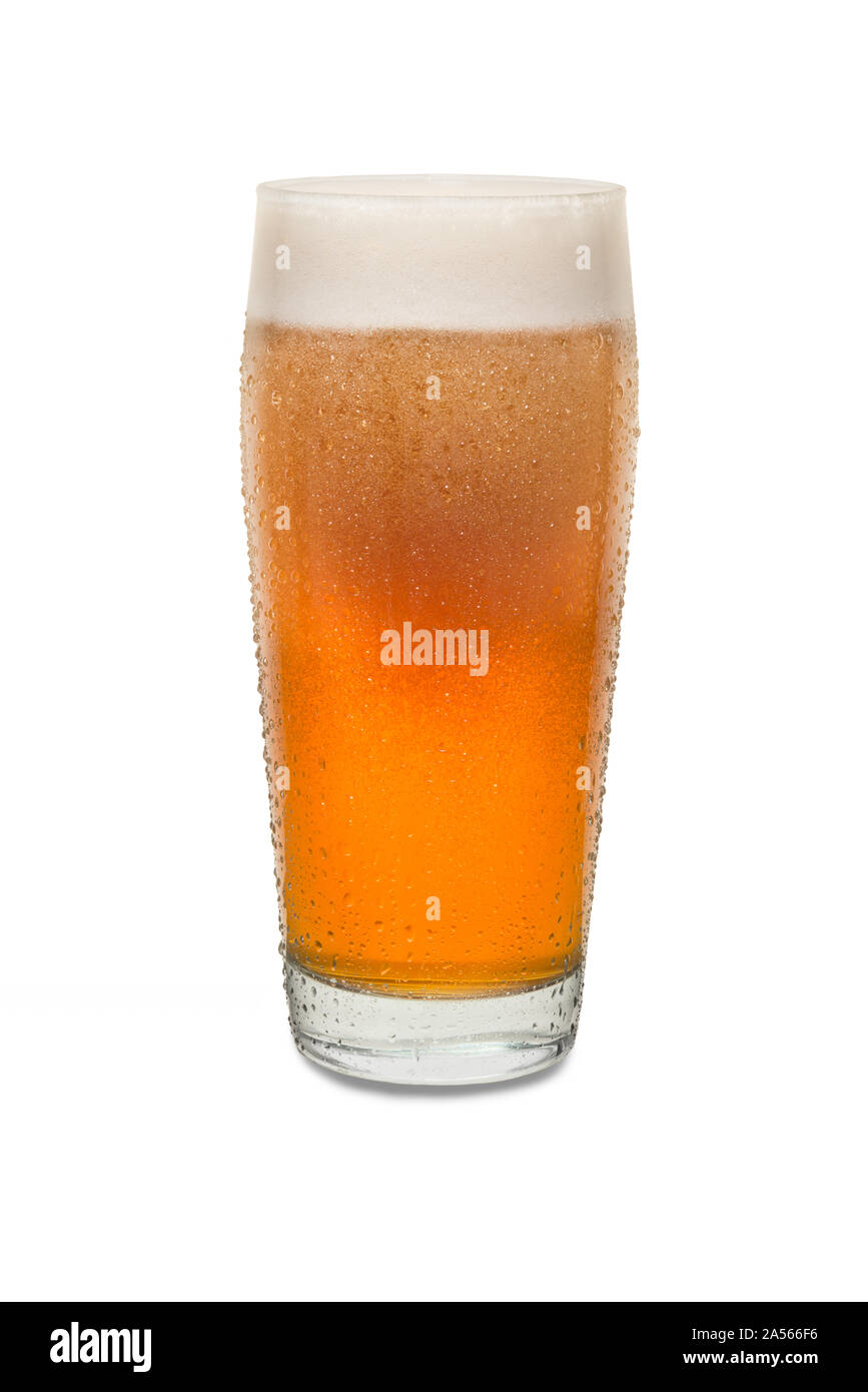 Freshly Poured Craft Pub Beer Glass #1 with Condensation . Stock Photo