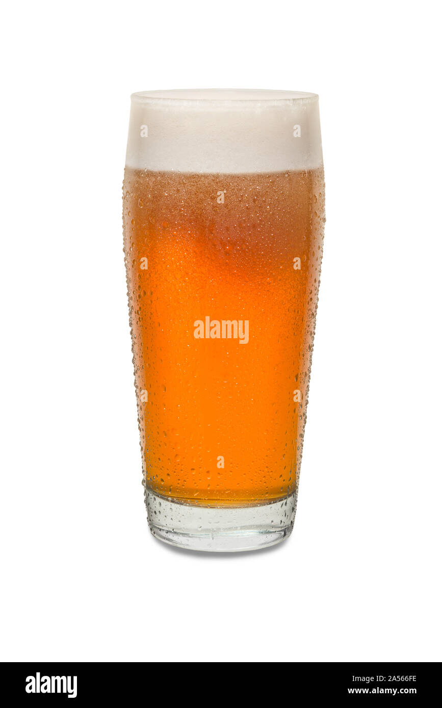 Freshly Poured Craft Pub Beer Glass #2 with Condensation . Stock Photo