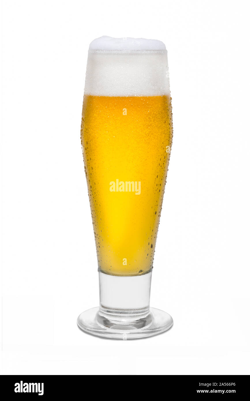Classic Pilsner Beer with Condensation, with Foam Head #4. Stock Photo