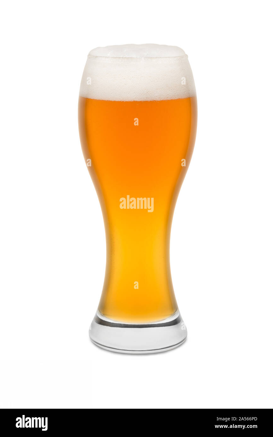 Isolated Wheat Beer, with Foam top #1. Stock Photo