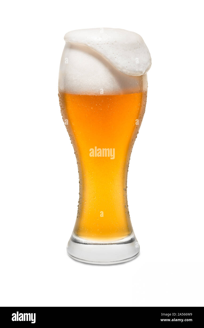 Isolated Wheat Beer, with Overflowing Foam. Stock Photo