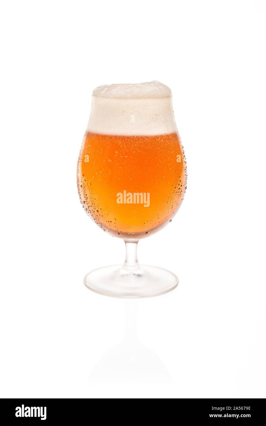 Tulip Glass With Belgium Beer. Stock Photo