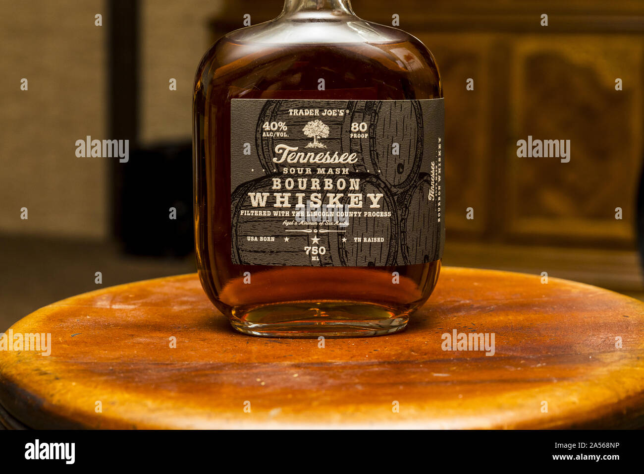 Trader Joe's brand Tennessee Bourbon Whiskey Stock Photo