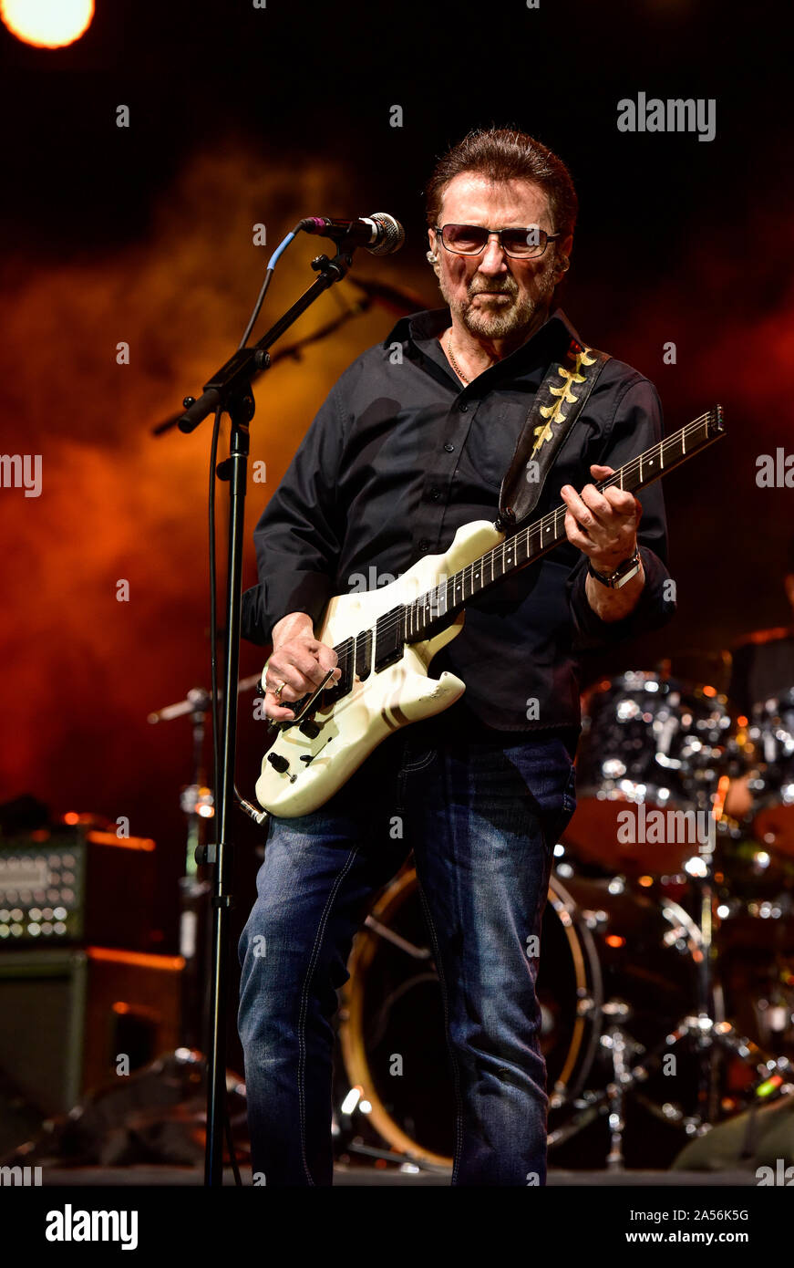 July 4, 2019, Moapa Nevada, Buck Dharma of Blue Oyster Cult on stage at the Moapa Event Center In Moapa, Nevada. Stock Photo