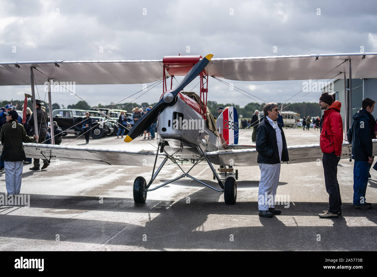 OLD WARDEN, BEDFORDSHIRE, UK ,OCTOBER 6, 2019. De Havilland DH.82A Tiger Moth. Race Day at Shuttleworth. Stock Photo