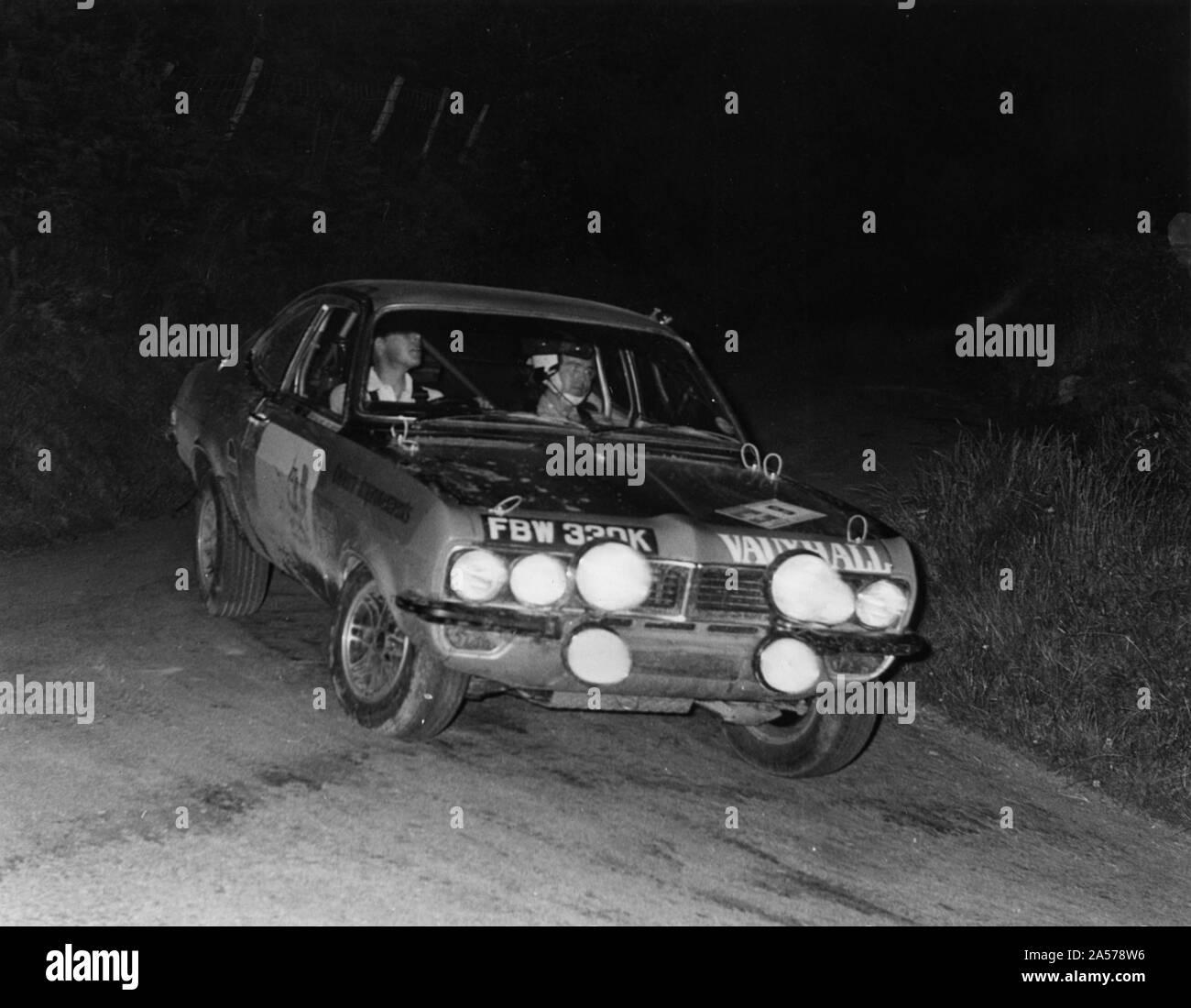 Vauxhall Firenza, Barrie Williams on Peak Revs Rally 1972. Stock Photo